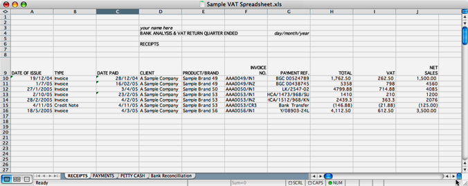Exporting Invoice Data To The Excel Sample Vat Spreadsheet